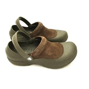 CROCS Brown Suede Slip On Clogs